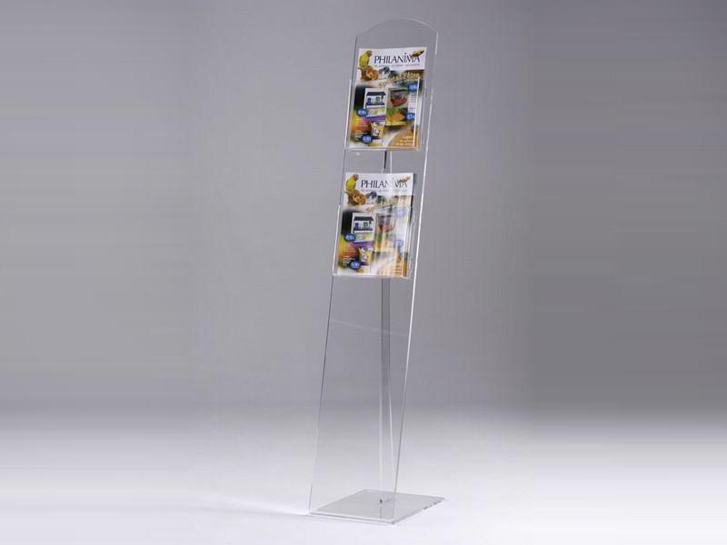 porte brochures sur pieds 2 bacs a4 portrait en plexiglas pluxi fabricant plexiglas. Black Bedroom Furniture Sets. Home Design Ideas
