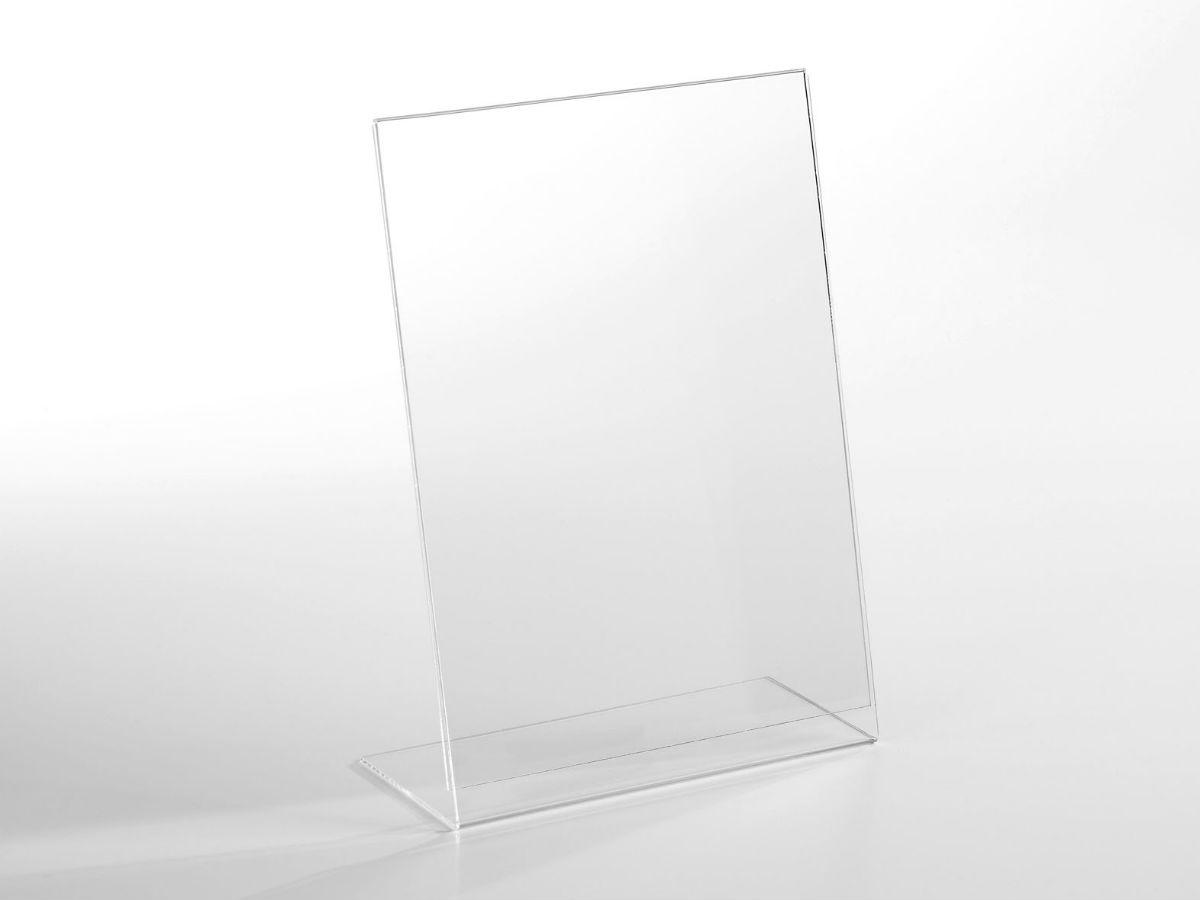 Porte visuel chevalet a4 portrait en plexiglas pluxi - Cadre photo plexiglas a4 ...